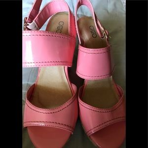 Peach Sandals with wedge heel wore twice